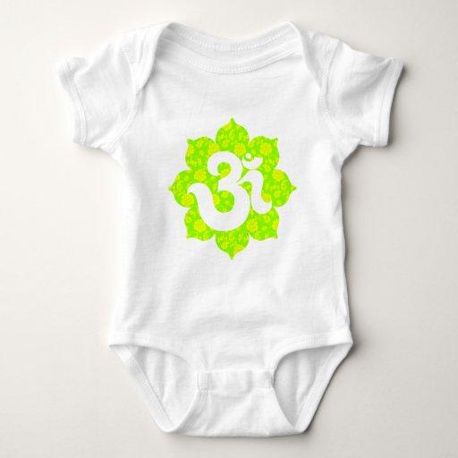 Yoga Om in Lotus green yellow Baby Bodysuit