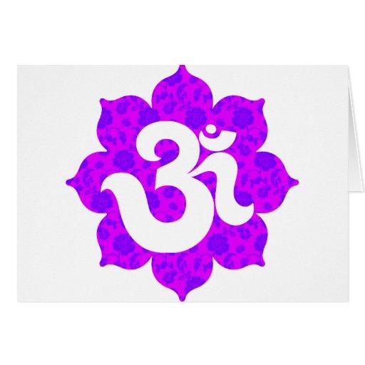 Yoga Om in Lotus purple pink Greeting Card