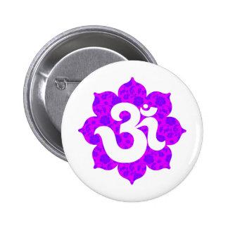 Yoga Om in Lotus purple pink Pinback Button