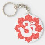 Yoga Om in Lotus red orange Keychain