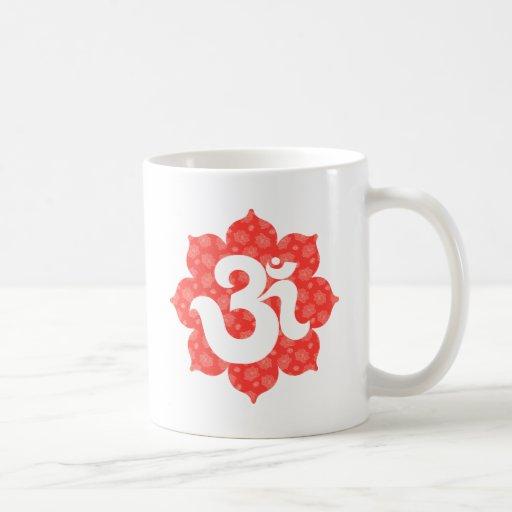 Yoga Om in Lotus red orange Mugs