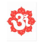Yoga Om in Lotus red orange Postcard