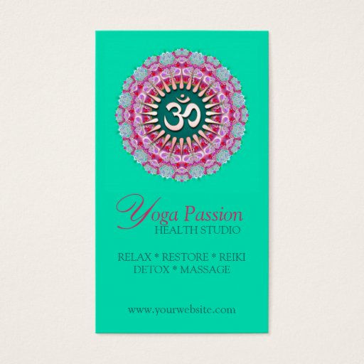 Yoga Om Pink Green New Age Business Cards