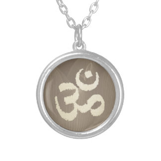 Yoga Om Sign Vintage Lotus Flower Background Silver Plated Necklace