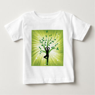 Yoga on green with growing tree baby T-Shirt