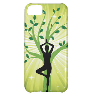 Yoga on green with growing tree case for iPhone 5C