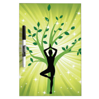 Yoga on green with growing tree dry erase board