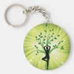 Yoga on green with growing tree basic round button keychain