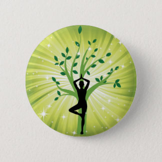 Yoga on green with growing tree pinback button