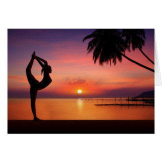 Yoga on the Beach at Sunset Card