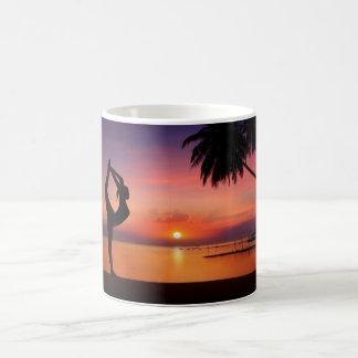 Yoga on the Beach at Sunset Classic White Coffee Mug