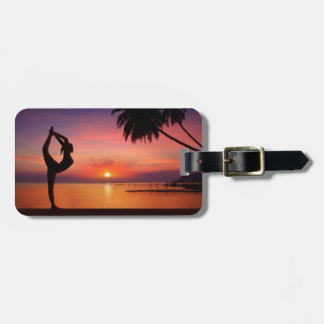 Yoga on the Beach at Sunset Tag For Luggage