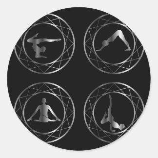 Yoga or gymnast silhouette classic round sticker