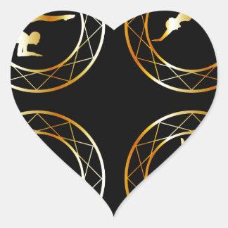 Yoga or gymnast silhouette heart sticker