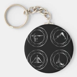 Yoga or gymnast silhouette keychain