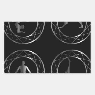 Yoga or gymnast silhouette rectangular sticker