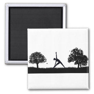 Yoga or Pilates in the Park Silhouette Magnet