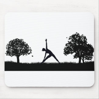 Yoga or Pilates in the Park Silhouette Mouse Pad