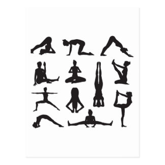 Yoga or pilates poses silhouettes post cards