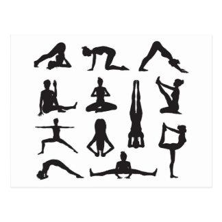 Yoga or pilates poses silhouettes postcard