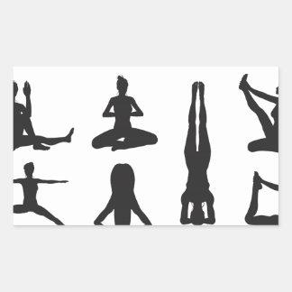 Yoga or pilates poses silhouettes rectangular stickers