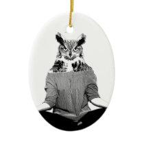 Yoga owl ceramic ornament