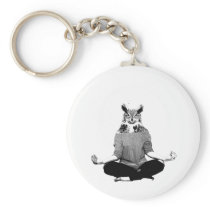 Yoga owl keychain