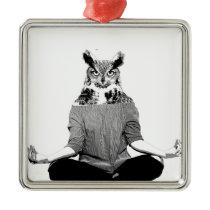 Yoga owl metal ornament
