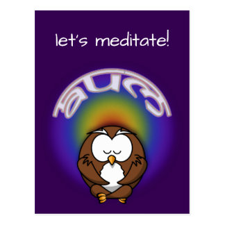 yoga owl postcard