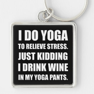 Yoga Pants Wine Silver-Colored Square Keychain