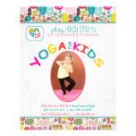 Yoga para floral colorido de las clases tarjetón