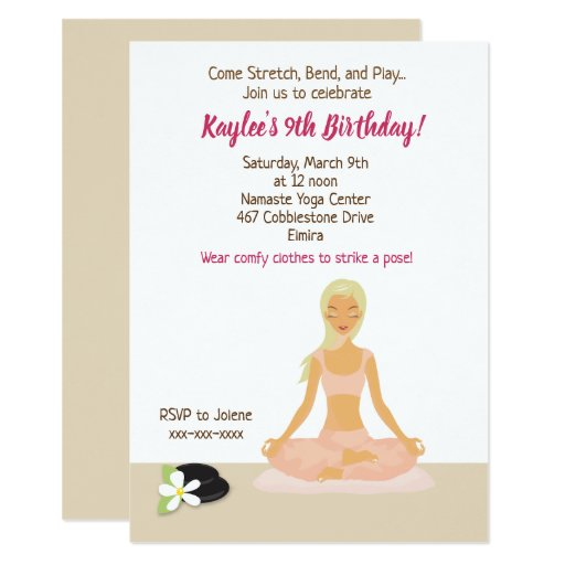 Yoga Party Girl's Birthday Invitation