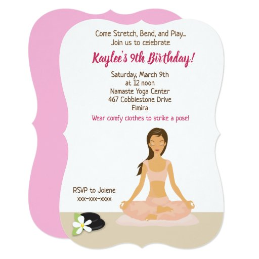 Yoga Party Girl's Birthday Invitation Brown Hair
