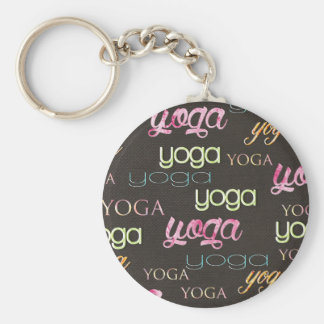 Yoga Pattern Watercolor on dark cotton Keychain
