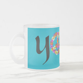 Yoga Peace Sign Floral Frosted Glass Coffee Mug