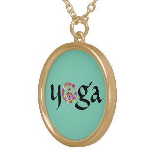 Yoga Peace Sign Floral on Aqua Gold Plated Necklace