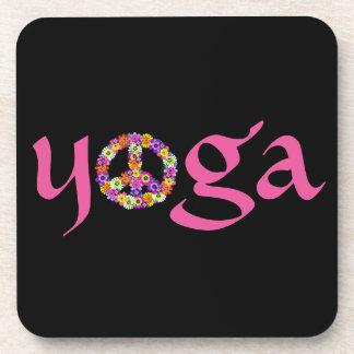 Yoga Peace Sign Floral on Black Drink Coaster