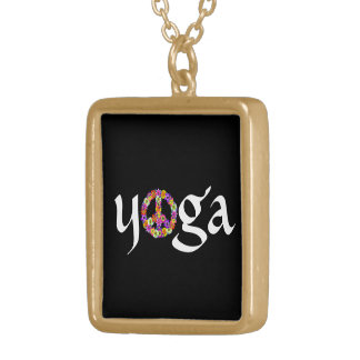 Yoga Peace Sign Floral on Black Gold Plated Necklace