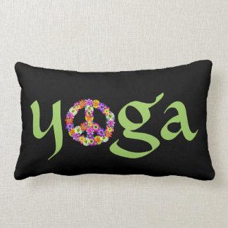 Yoga Peace Sign Floral on Black Throw Pillows