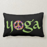 Yoga Peace Sign Floral on Black Throw Pillows