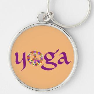 Yoga Peace Sign Floral on Peach Keychain