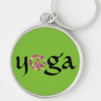 Yoga Peace Sign Floral on Smoothie Green Keychain