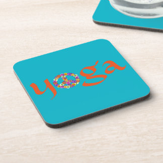 Yoga Peace Sign Floral on Turquoise Coasters