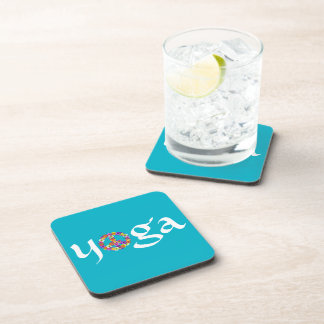 Yoga Peace Sign Floral on Turquoise Beverage Coaster