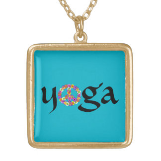 Yoga Peace Sign Floral on Turquoise Gold Plated Necklace