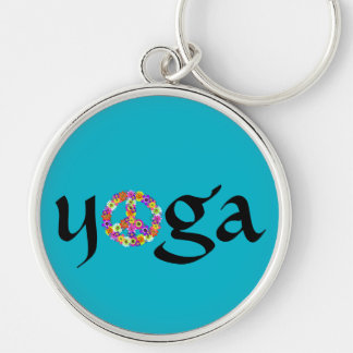 Yoga Peace Sign Floral on Turquoise Keychain