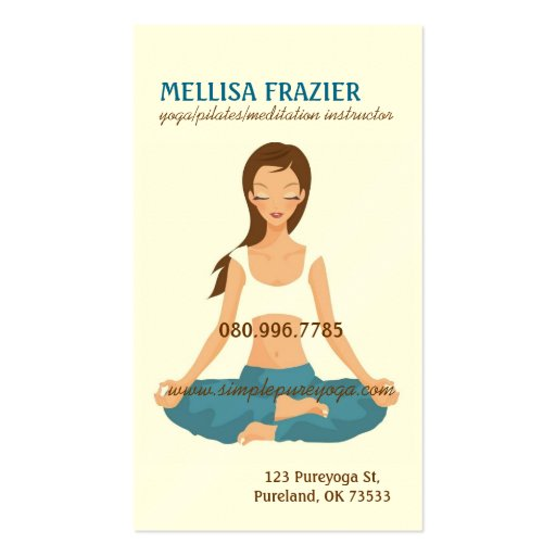 Yoga Pilates Meditation Business/Instructor Business Card Template