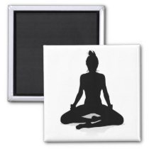 Yoga Pilates Pose Woman Silhouette Magnet