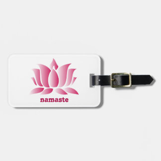 Yoga pink lotus namaste bag tags