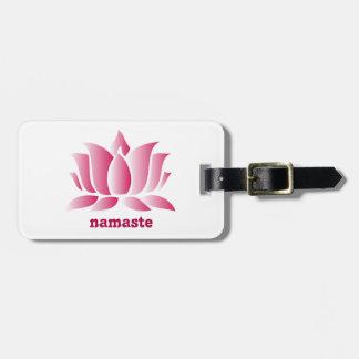 Yoga pink lotus namaste luggage tag